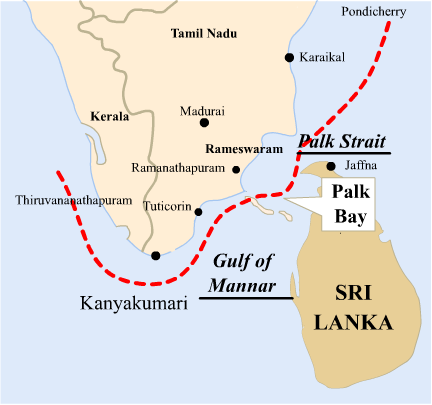 Sri Lanka is separated from India by a narrow channel of sea, formed by Palk Strait and the Gulf of Mannar